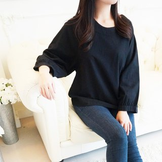 Cotton wide-sleeved shirt / black