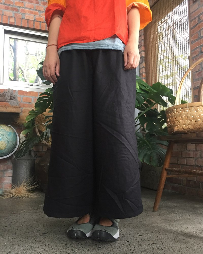 Autumn double-layer cotton brush 広 shape もんぺ wide tube pocket pants