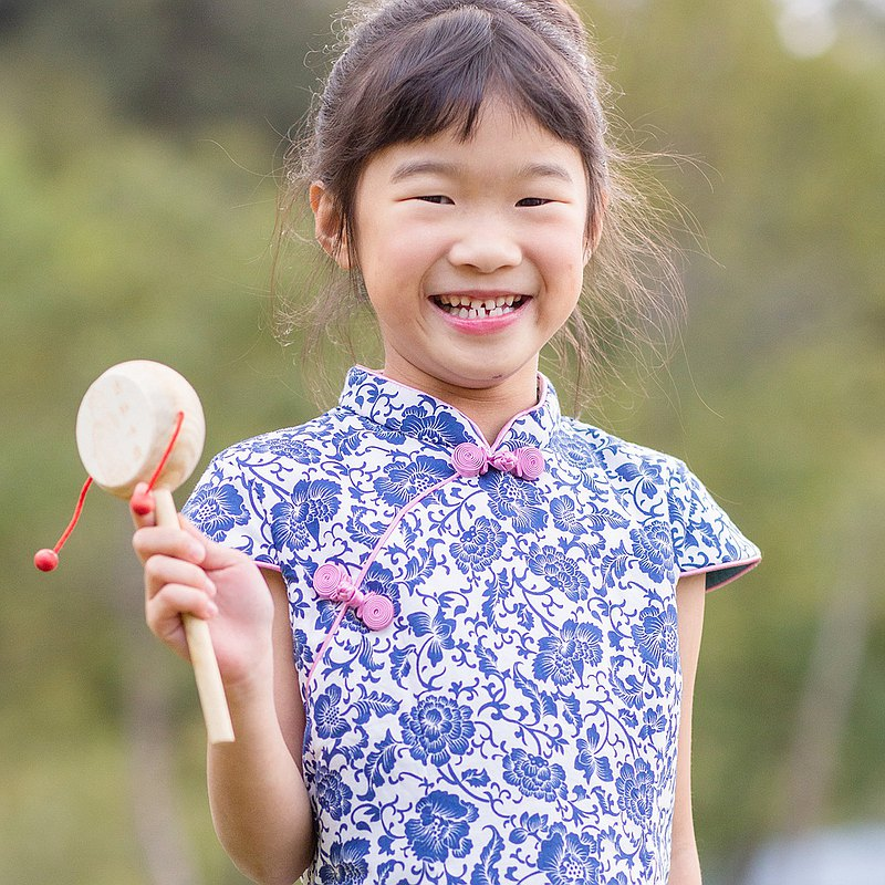 兒童旗袍 古風 冬季款 墨染青瓷
