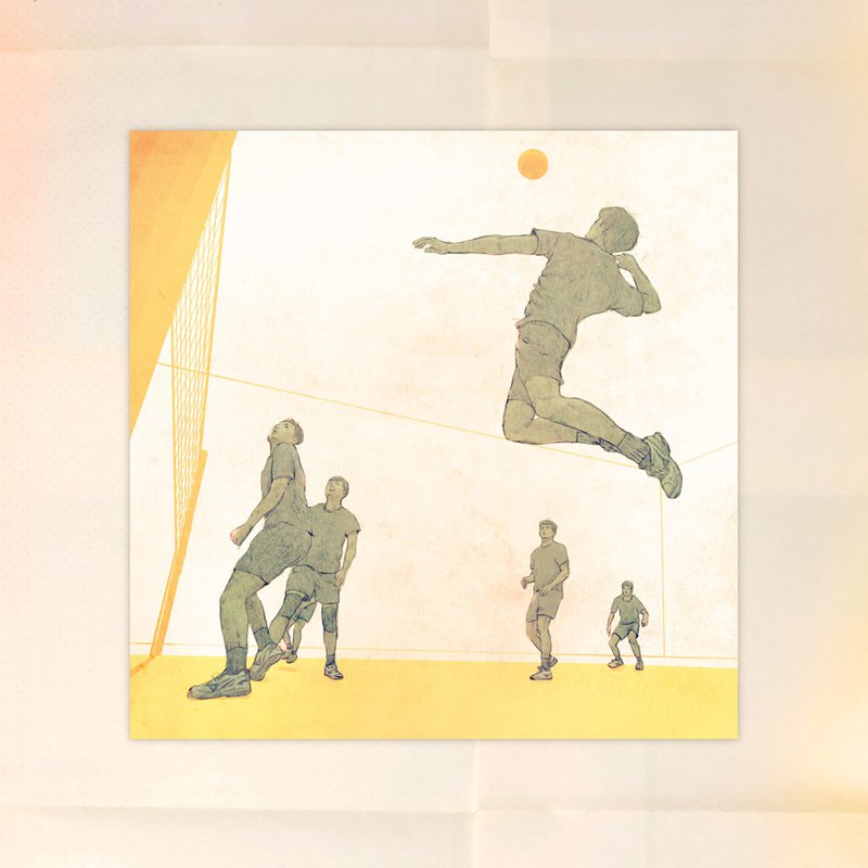 Volleyball illustration postcard - remember to leave good memories