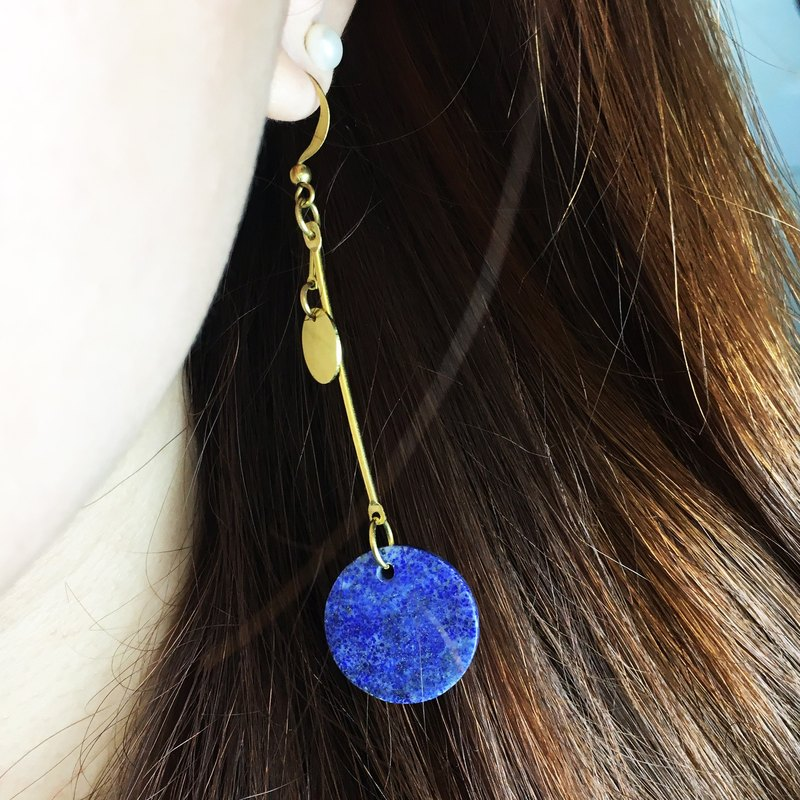 Can be changed clip - lapis lazuli geometric earrings - Round edge - a single branch