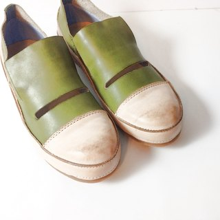 Painting # 8072 || Calf leather casual shoes retro caramel matcha cake ||