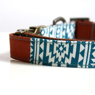 Southwestern BOHO Tassel Charm Dog Collar - Antique Brass, Brown, Ocean Blue