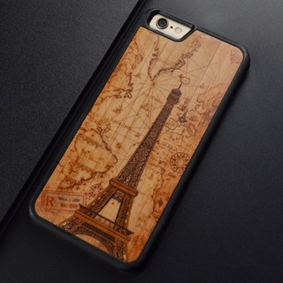 iphone 6 S hand original Eiffel Tower color printing shell Apple 7 PLUS hand wood protection case Samsung S7 edge S8 plus