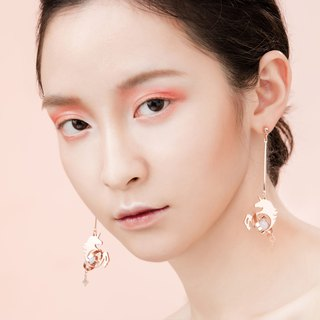 Illusions Unicorn Squab earrings / Rose gold & silver