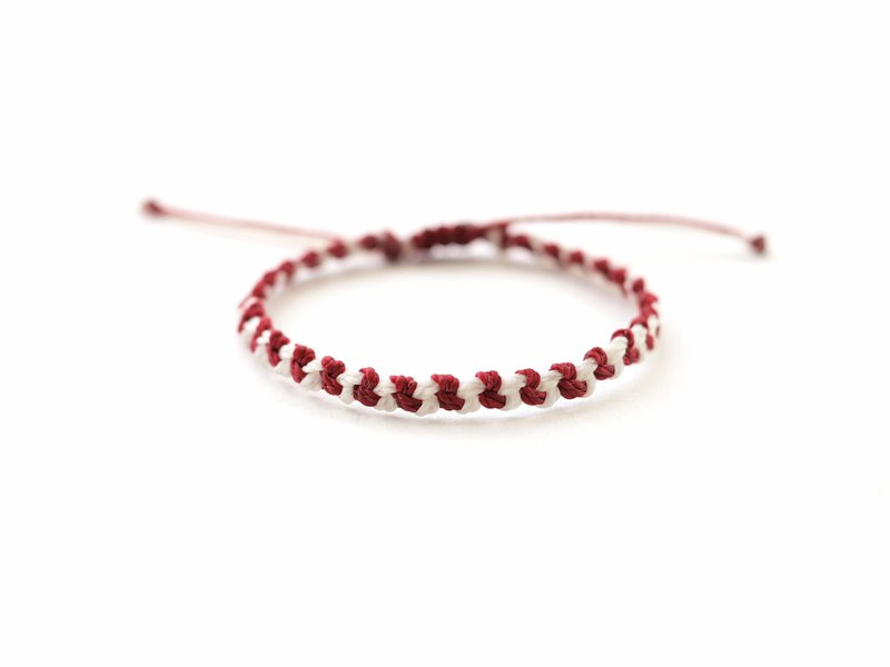 Red White woven bracelet - waterproof bracelet