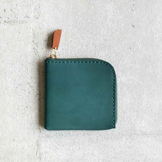 Teal classy leather coin zip wallet