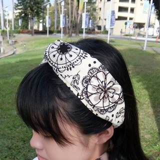 Graffiti Floral Elastic Cross Hairband Hairband*SK*