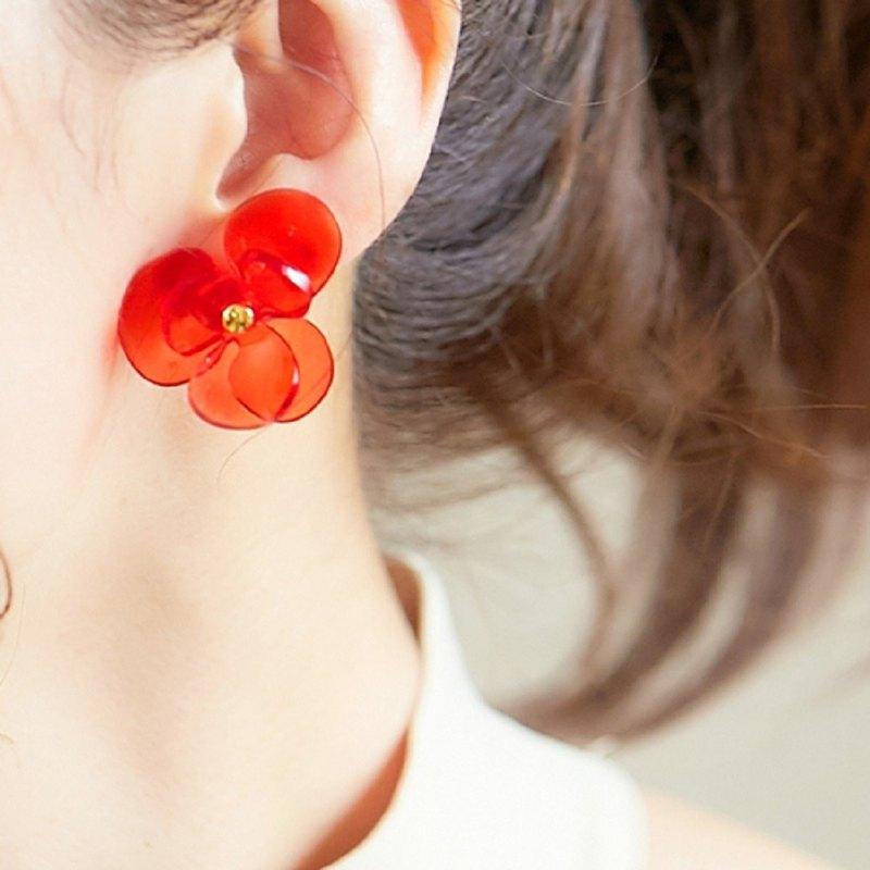 水晶花   耳针  紅