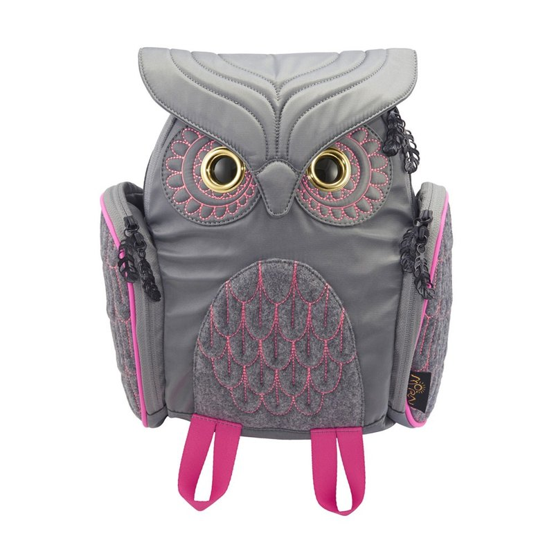 Morn Creations Genuine Classic Owl Backpack S- Gray (OW-316-GY)