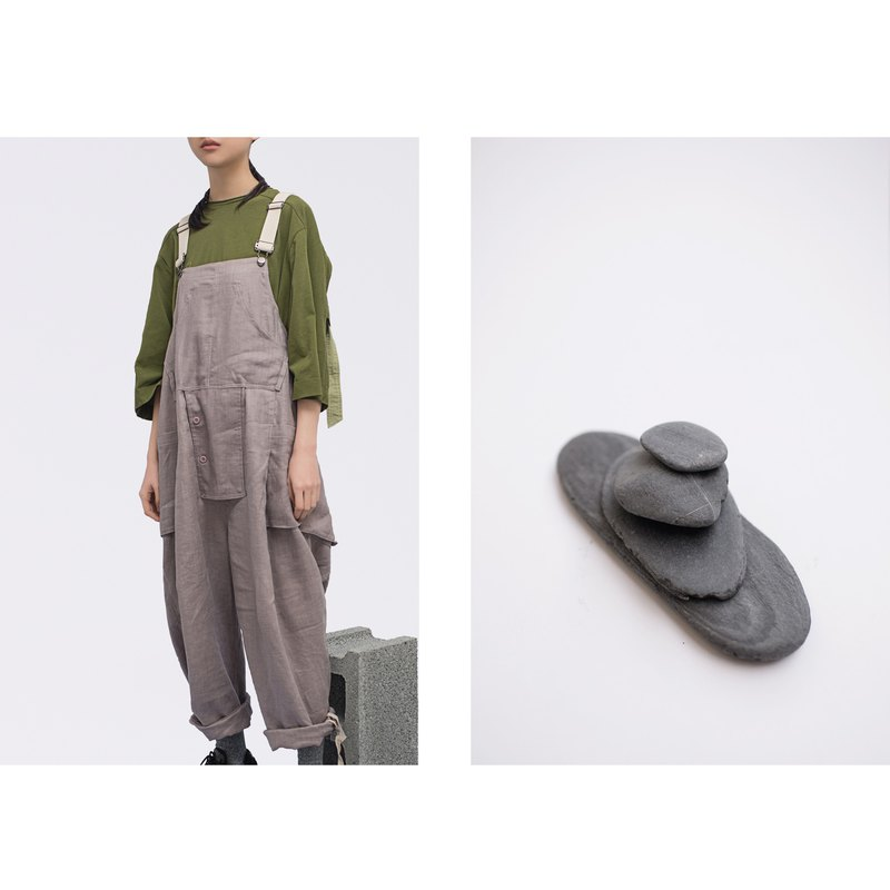 Rin OVAL overall suspenders bib warm grey - cotton and linen breathable - one-piece overalls