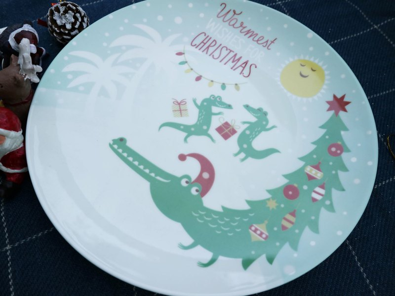 Customized Christmas packaging-dancing Christmas tree 8 inch bone china plate Christmas packaging exchange gifts