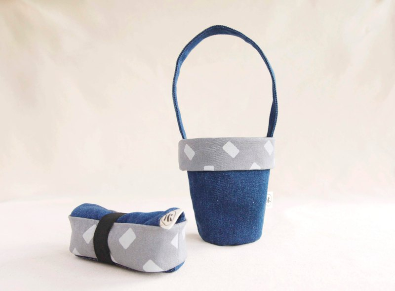 [Geometric Cup Bag]-Limited Tannin
