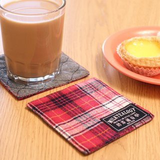 MILKTEALOGY handmade cotton coaster - red plaid