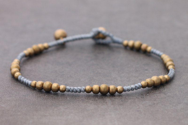 Beaded Hemp Contrast Color Mix Anklets Brass Cotton Hippy Grey Simple Anklets