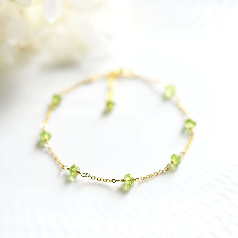Happiness, marital love, peace Peridot bracelet August birthstone Layered as well