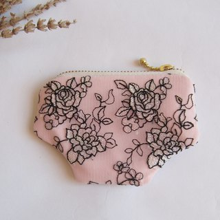 Embroidered  rose  purse