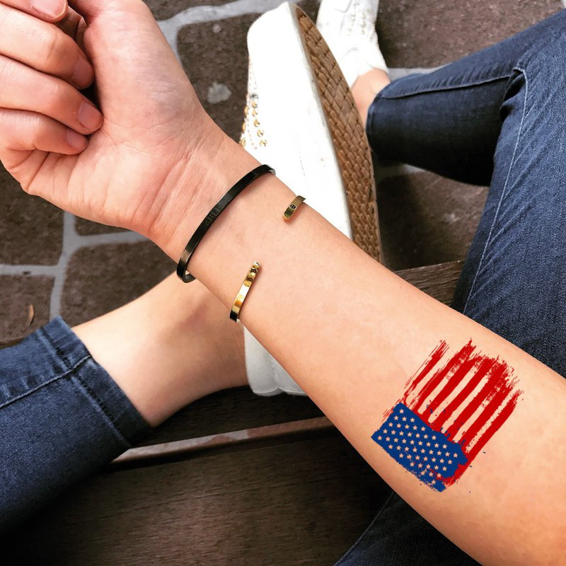 US Flag Temporary Fake Tattoo Sticker (Set of 2) - OhMyTat