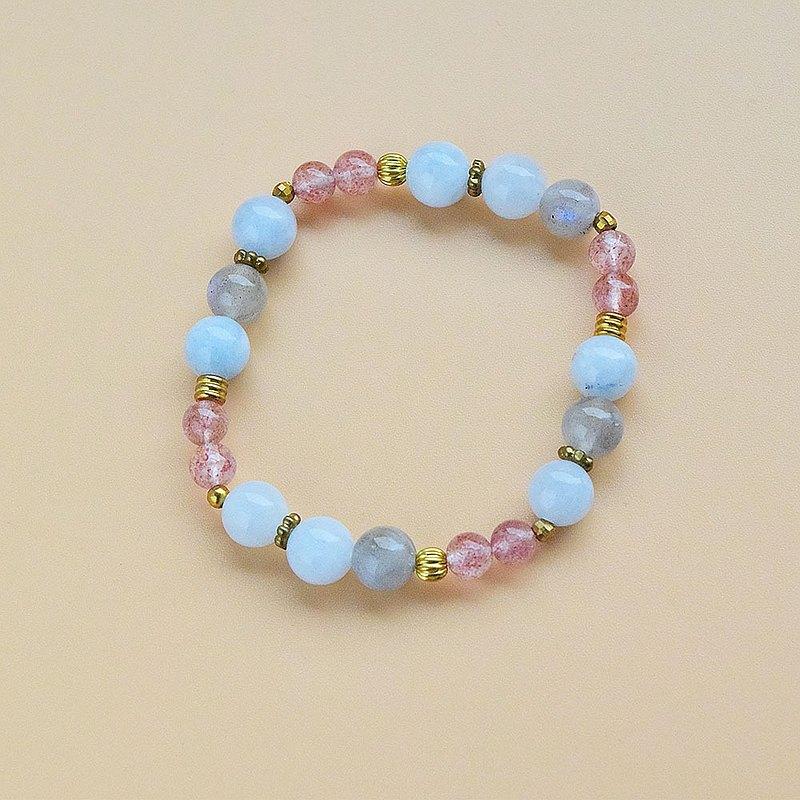 【草莓晶・海藍寶石・拉長石 】手鍊/手環