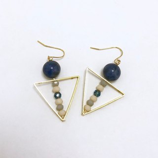 Blue stone triangle earrings