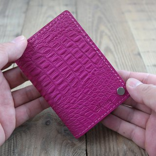 APEE leather hand ~ portable card holder ~ crocodile pink peach