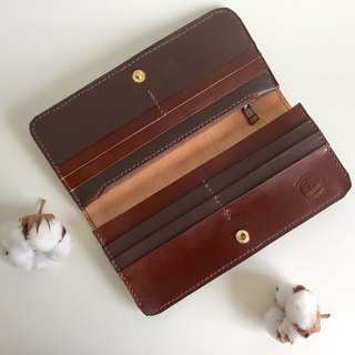 Temperament Coffee Long Clip _ Leather Handmade Handmade Wallet