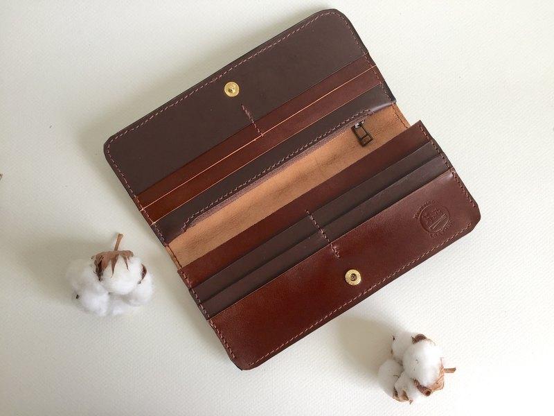 氣質咖啡長夾 皮革手工縫製 Handmade long Wallet