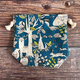 Dark blue animal forest x dot green or little yellow - double-sided storage beam pocket - small