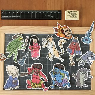 Japanese monsters sticker set