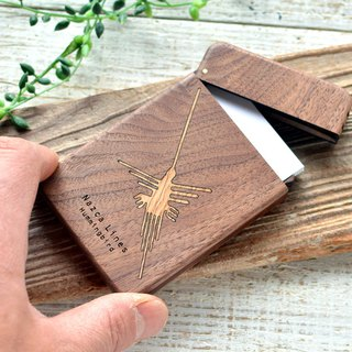 Wooden business card holder Nasca's land drawing Hummingbird walnut