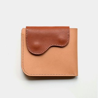[God's left hand chip] vegetable tanned leather wallet primary color X brown short clip change card holder lettering