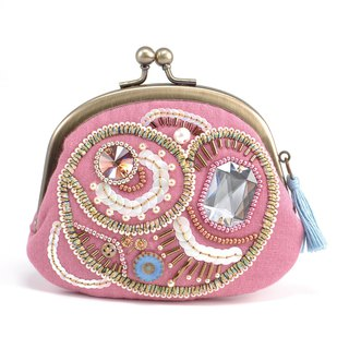 A wide opening tiny purse, coin purse, pill case, gorgeous pink pouch, No,9