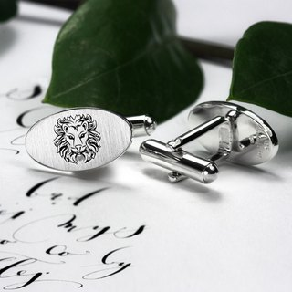 Engraved Cufflinks - Lion Cufflinks - Zodiac Cufflinks - Wedding cufflinks