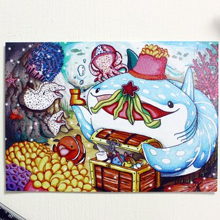 Tofu shark little spot whale shark postcard story screen - little gift