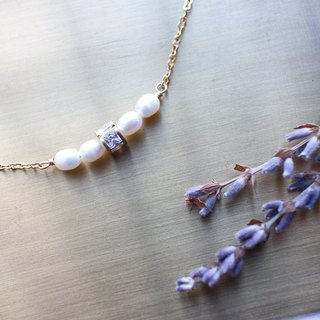 Snow white-Pearl zircon necklace