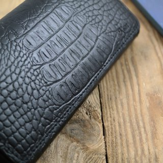 APEE leather hand ~ mobile phone holster ~ horizontal magnetic buckle holding ~ crocodile striae black ~ Samsung S8 +