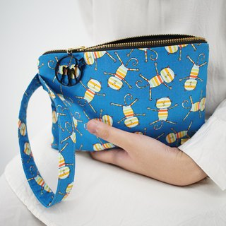 Wristlet in Rainbow Cats on Blue