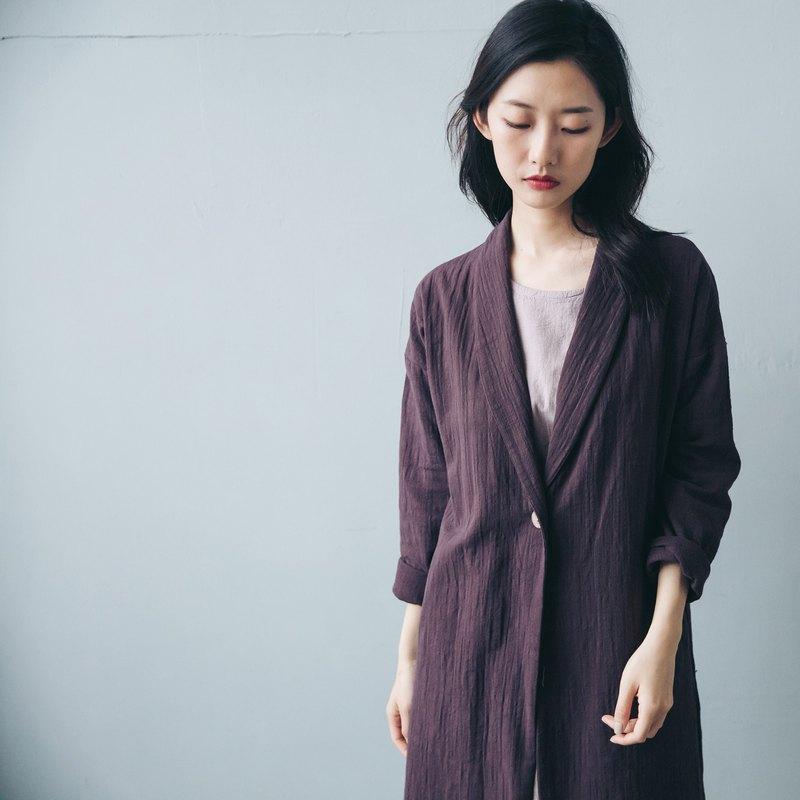 單釦長版大衣 - 紫