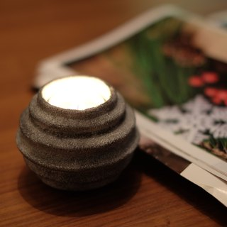 Polistone round striped tealight holder