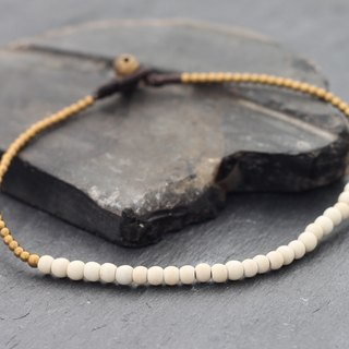 White Turquoise Minimal Stone Anklet Beaded Brass
