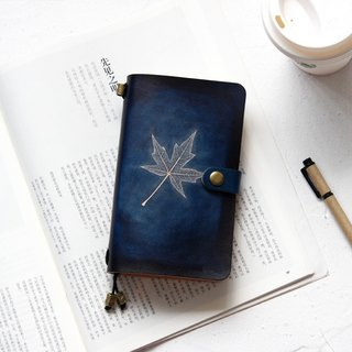 Mountain sea blue maple leaf hand book leather notebook diary TN travel book can be customized