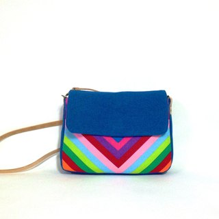 Rainbow small shoulder bag-green, crossbody bag, handmade, canvas