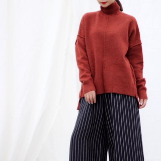 [spot] high collar orange red wool sweater