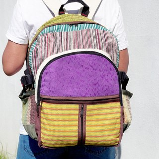 Christmas gift limit after a hand stitching design cotton backpack / shoulder bag / ethnic mountaineering bag / Patchwork bag - colorful color contrast geometric ethnic Backpack