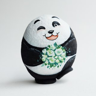 Panda with white rose stone painting.