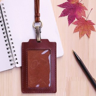 Leather straight dual SIM card holder identification card travel card sleeve - brown