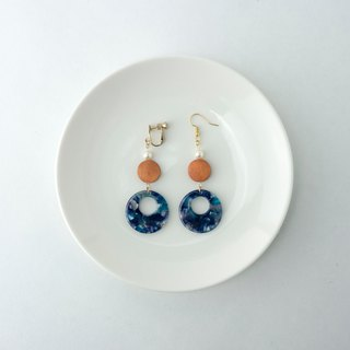 Circledot logs, blue, round, earrings, earrings, ear clips, ear clips