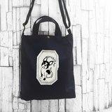 法鬥 黑色-A4手工車縫印製 帆布手提袋/斜背袋/肩背袋