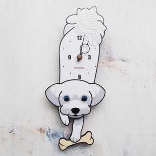 D-14 Maltese(White) - Pet's pendulum clock