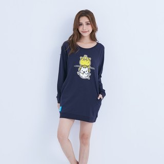 LAZYMARU-LM001547 small hippo double mouth group long-sleeved dress (Zhang Qing) law fight Taiwan Wenchuang